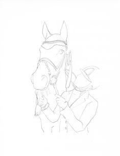 Outline Drawings, Horse Drawings, Art Drawings Sketches Simple, Bird Drawings, Animal Drawings, Cool Drawings, Easy Horse Drawing, Horse Outline, Horse Sketch