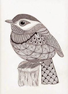 Tangled Little Flycatcher – Zentangle Birds. Design Ideas Inspirations - Tangled Little Flycatcher – Zentangle Birds Zentangle Drawings, Bird Drawings, Zentangle Patterns, Zentangles, Zentangle Animal, Doodle Patterns, Mandala Art, Mandala Design, Bird Doodle
