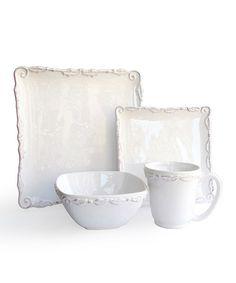 Look at this #zulilyfind! White Bianca Wave 16-Piece Dinnerware Set #zulilyfinds