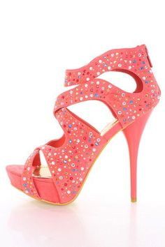 Coral Gold Faux Suede Faceted Beaded Cut Out Heels @ Amiclubwear Heel Shoes online store sales:Stiletto Heel Shoes,High Heel Pumps,Womens High Heel Shoes,Prom Shoes,Summer Shoes,Spring Shoes,Spool Heel,Womens Dress Shoes,Prom Heels,Prom Pumps,High Heel Sa