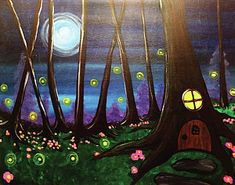 A quaint little fairy house in a tree, in the middle of a forest lit by moonlight. Painting Prints, Canvas Prints, Art Prints, Fairy Paintings, Wood Print, Greeting Cards, Tapestry, Wall Art, Artists