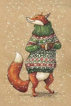Shop cardinbox.net - Рисованная авторская почтовая открытка с лисой из серии «Зверушки в свитере и с кружкой»