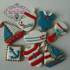 Vanilla Spiced Nautical Themed Cookies to welcome baby Austin! Sailboat,Bottle, Rattle, Onesie, Sailor Hat, Anchor Baby Boy Cookies, Baby Shower Cookies, Cute Cookies, Cupcake Cookies, Cookie Favors, Heart Cookies, Nautical Cake, Nautical Theme, Sailboat Cookies