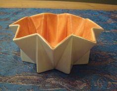 $110 Small 1960's Belle Kogan Prismatique Planter/Bowl - Orange & Ivory/White - 791 - Red Wing Pottery