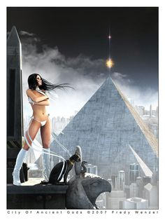 """""""The Forgotten Pyramid Of Psamathe"""" (the title was too long for the deviation title field ) The next pic for my """"New Egypt"""" series. The Forgotten Pyramid. Dark Fantasy Art, Sci Fi Fantasy, Fantasy Girl, Fantasy Artwork, Anime Sensual, Futuristic Art, Cyberpunk Art, Science Fiction Art, Fantasy Landscape"""