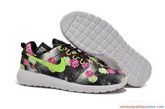 España [OS04178517] Zapatillas Running Nike Roshe Run Print Flor Mujer Verde Negro