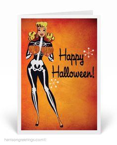 1950's Vintage Pinup Halloween Cards