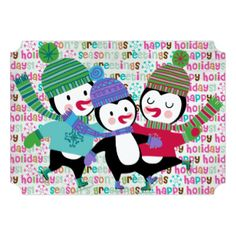 Skating Penguins Christmas Holiday 5x7 Paper Invitation Card. This penguin holiday greeting card is part of a set including matching postage stamps, stickers, return address labels, envelopes, binders, and more. See the entire set!  http://www.zazzle.com/christmasshop/gifts?cg=196065350158575375