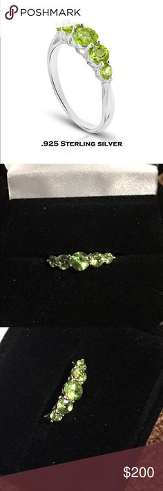 PERIDOT RING NEW GENUINE 5 ROUND CUT PERIDOT SET IN 925 STERLING SILVER  CENTER STONE MEASURES APPROX 5MM NEXT MEASURE APPROX 4MM AND THE LAST IS APPROX 3MM SIZE 6 THIS RING RETAILS $400 PERFECT SALE PRICE FOR THE AUGUST BORN SPECIAL SOMEONE  includes black velvet gift box Jewelry Rings