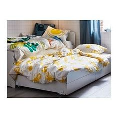 SLÄKT Pull-out bed with storage, white, Twin. When the morning comes, simply roll it back under SLÄKT bed. Neutral Bed Linen, Bed Frame And Headboard, Bed Frames, Nursery Bedding Sets Girl, Pull Out Bed, Diy Bett, Matching Bedding And Curtains, Hotel Collection Bedding, Bed Slats