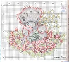Cross-stitch tatty teddy sitting among flowers, part color chart on part 2 Cross Stitch Numbers, Just Cross Stitch, Cross Stitch Baby, Cross Stitch Animals, Cross Stitch Kits, Cross Stitch Charts, Cross Stitch Designs, Cross Stitch Patterns, Tatty Teddy