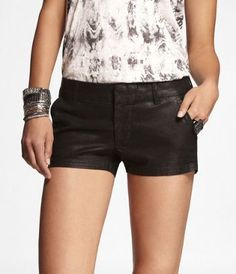 "#Express Jeans- 2 1/2"" COATED TROUSER SHORTS at Express"
