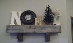 Noel Rustic Christmas Barn Beam Mantle with clock J&N Stone
