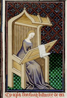 The Erithrean Sibyl writing, with a partial border, France c.1440. Royal 16 G V BL