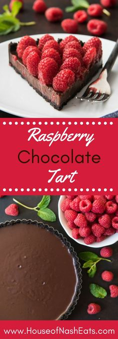 A smooth, rich chocolate ganache poured into a chocolate Oreo cookie crust and then toppped with lots of fresh red raspberries makes for a deceptively easy and decadent dessert in this Raspberry Chocolate Tart that's perfect for Valentine's Day or any special occasion! #chocolate #dessert #valentinesday #valentine #romantic