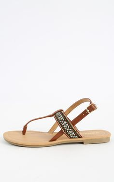 Classic flip flop sandal with a tribal weave strap, cute!  | MakeMeChic.com