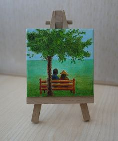 Under The Tree Original Tiny Painting by JewellsArtUK on Etsy