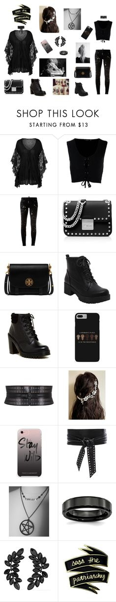 """O Fio do Destino"" by carina-bernardino ❤ liked on Polyvore featuring Boohoo, Dsquared2, MICHAEL Michael Kors, Tory Burch, Dr. Martens, Alaïa, Rebecca Minkoff, IRO and Kenneth Jay Lane"