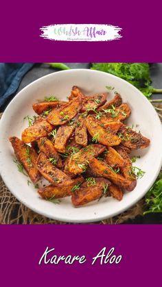 Puri Recipes, Pakora Recipes, Chaat Recipe, Indian Vegetable Recipes, Indian Food Recipes, Tasty Vegetarian Recipes, Spicy Recipes, Veg Dishes, Potato Wedges