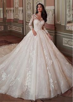 Fantastic Tulle & Lace Scoop Neckline Ball Gown Wedding Dress With Lace Appliques & 3D Flowers & Beadings