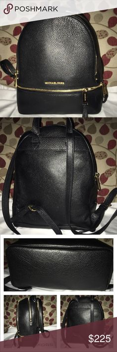 Host PickNWOT Michael Kors Reah Backpack New Michael Kors Rhea Backpack in black pebbled leather and shiny gold hardware! It's logo lined, 1 zip, multiple slip pockets, 3 compartments, all compartments zip closed! Measures 10 X 12 X 4.5no trades price firm MICHAEL Michael Kors Bags Backpacks