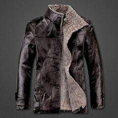 Mens Winter PU Leather Coat Fur Parka Fleece Jacket Trench Slim Coat Black Chocolate -- BuyinCoins.com