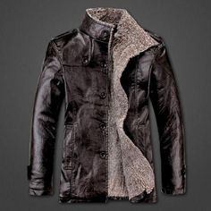 Mens Winter PU Leather Coat Fur Parka Fleece Jacket Trench Slim Coat Black Chocolate -- BuyinCoins.com