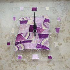 Rózsaszín, mályva, lila - egyedi festett üvegóra, Dekoráció, Otthon, lakberendezés, Falióra, Meska