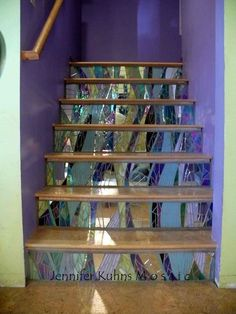 Flowing Stair Risers- salvaged stained glass and mirror pieces by Jennifer kuhns Mosaic Stairs, Tile Stairs, Mirror Mosaic, Mosaic Art, Mosaic Glass, Mosaic Tiles, Stained Glass, Mirror Stairs, Pebble Tiles
