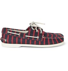 SPERRY TOP-SIDER X BAND OF OUTSIDERS    STRIPED CANVAS BOAT SHOES