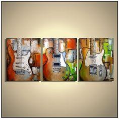 Guitar artwork Orange and green guitar painting Music studio ideas Original palette knife painting on canvas