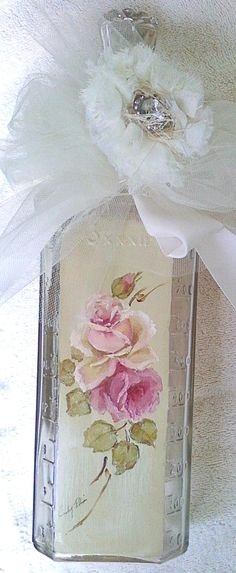 DECORATE AN OLD BOTTLE with printable art, tulle, lace and faux gems
