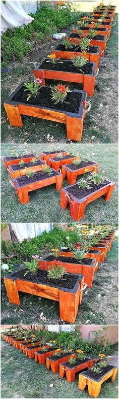 Wow, it's a time to construct few stylish, appealing and stunning pallet planter arts for your beautiful garden. These amazing rectangular shaped planters with brown color paint on it appears best to meet the planting needs of your nursery.