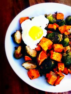 Baked Yam and Brussel Sprout Hash