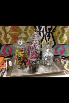 Dorm decor.  Candy jars