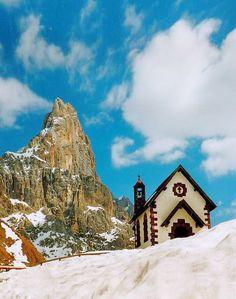 Church of Passo rolle,cimon della Palla,pale di San Martino,Dolomites,Italy