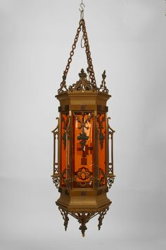Antique gothic wrought iron stained glass lantern for Casa revival gotica