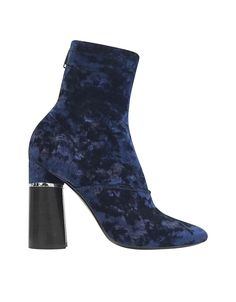 Kyoto Royal Blue Velvet Stretch Boot crafted in elegant crushed velvet, is a modern above-the-ankle boot with a romantic flair. Featuring back zip closure, almond toe, stacked rounded block heel with metal plate detail and leather sole. Signature dust bag included. Made in Italy.