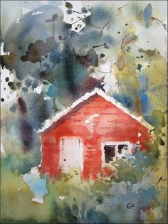 Red Cabin by cmwatercolors on DeviantArt