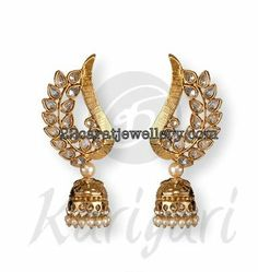 Jewellery Designs: Jumkis with Polki and Gold Combination
