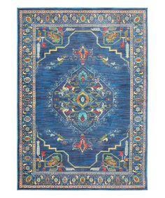 Dark Blue Arabesque Rug