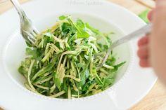 Fresh Raw Zucchini Arugula Salad Recipe @FifteenSpatulas