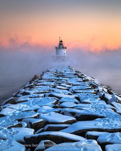 Spring Point Ledge Lighthouse, Maine in sub zero temperatures