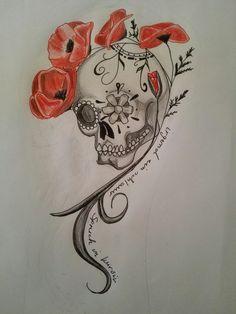 Totenkopf mit Mohnblumen by Pandi