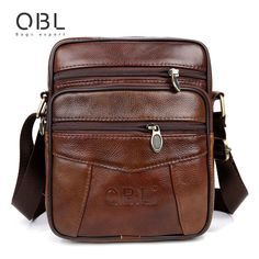 QiBoLu Brand Men Genuine Leather Messenger Travel Business Crossbody Shoulder Bags //Price: $34.84 & FREE Shipping //     #fashion
