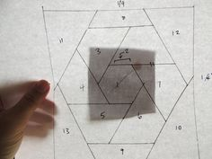 """Foundation paper piecing hexagons: I had an idea the other day to make a woven-looking hexagon block. I drew it myself and numbered the sections to figure out how I'd put it together. The tricky bit is that this design has a """"partial seam"""" in it -..."""