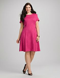 Plus Size Swirl Textured Fit-and-Flare Dress | Dressbarn $52