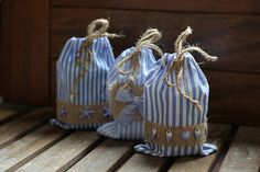 Set of 3 fabric cotton gift bags. Marine style gift bags. Blue