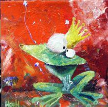 Prinsen går i frø, 40x40cm, akryl på lærred  © Svend Høgh +45 22179170 artbyhoegh@gmail.com