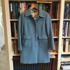 J. Crew coat Lady-like, retro coat in robin's egg blue. Size 6 Petite.In very good condition. J. Crew Jackets & Coats